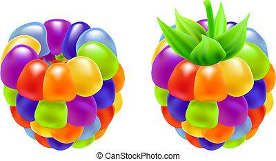 Rainbow raspberry. Vector illustration on white background.