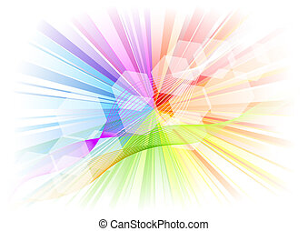 rainbow rays with white hexagon