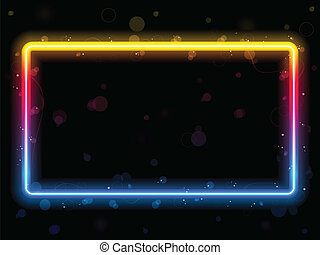 Rainbow Rectangle Border with Sparkles and Swirls. Editable...