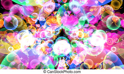 Rainbow reflection bubbles with hearts floating on black background