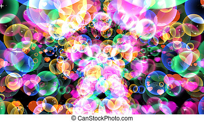 Rainbow reflection bubbles with hearts floating on black background with white star