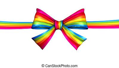 Rainbow Ribbon Bow - Rainbow ribbon bow concept as a silk...