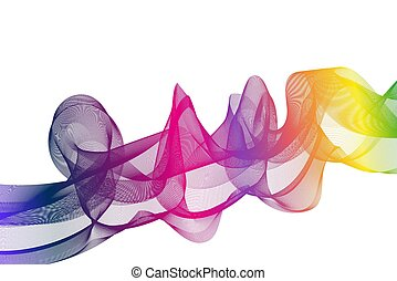 Rainbow Ribbon wave on a white background. Vector.