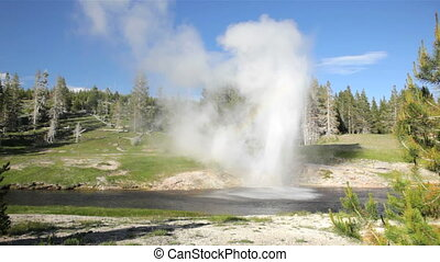 Rainbow, Riverside Geyser 1 - Rainbow forming from the...