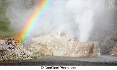 Rainbow forming from the eruption of Riverside Geyser along the Firehole River