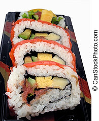 Rainbow rolls. Focus is on the first roll and swallow DOFF on the rest.
