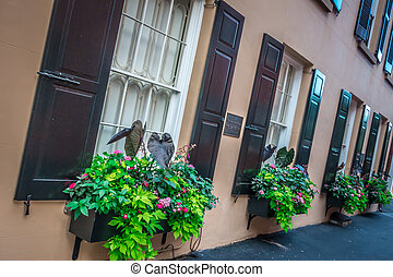 Rainbow row street in charleston south carolina scenery and historic architecture