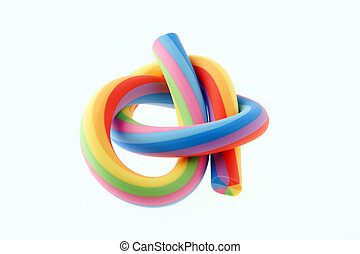 Rainbow rubber eraser - Close-up of a knot shaped rainbow...
