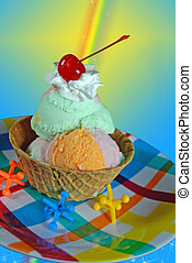 Rainbow Sherbet - Rainbow sherbet in waffle bowl with toy...