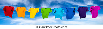 rainbow shirts on washing line