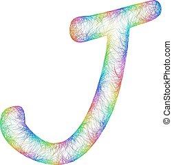 Rainbow sketch font design - letter J