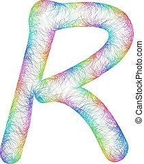 Rainbow sketch font design - letter R