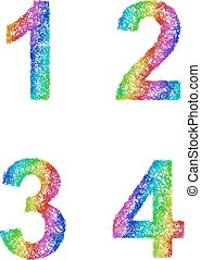 Rainbow sketch font set - numbers 1, 2, 3, 4