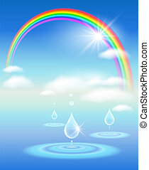 Rainbow, sky, clouds, water and sunshine. Symbol of clean water.
