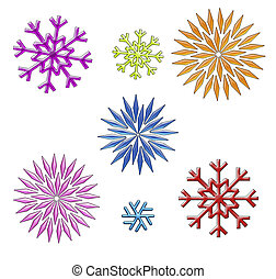 rainbow snowflakes clip art on white