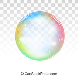 Rainbow soap bubble on a transparent background. illustration
