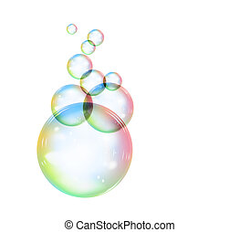 Rainbow soap bubble on a white background. illustration