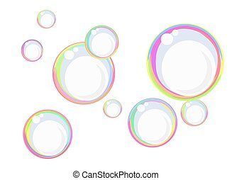 Rainbow soap bubbles - Floating colorful soap bubbles...
