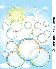 Rainbow soap bubbles