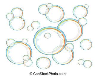 Rainbow soap bubbles, vector
