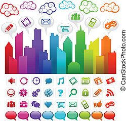 Vector illustration of a colorful city with social media icons.