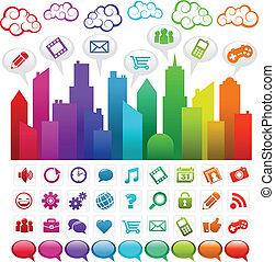Rainbow Social Media City - Vector illustration of a ...