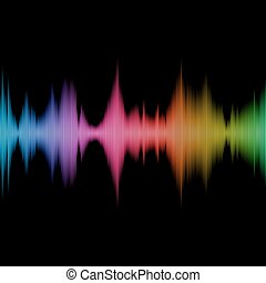 Rainbow Sound Equalizer, Colorful Musical Bar on Black Background. Vector