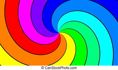 Rainbow spectral swirl rotating quickly clockwise, seamless loop