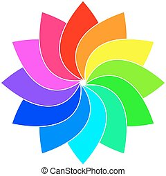 Rainbow spectrum color wheel. Children wind vane vector...