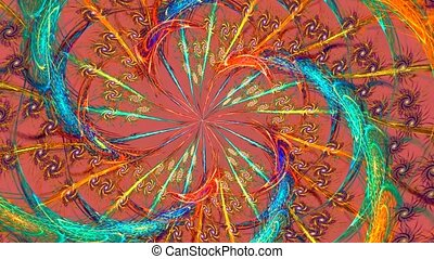 Rainbow spiral - Bright spiral on pink background