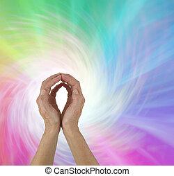 Rainbow Spiral Energy healing hands