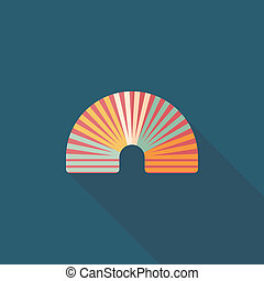 Rainbow spiral flat icon with long shadow, eps10