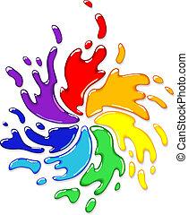 Rainbow splash with swirl. Vector illustration.