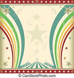 Rainbow square circus invitation - A retro square circus...