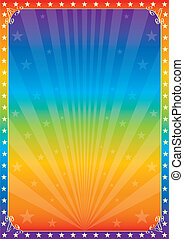 Rainbow star circus -  A multicolored poster for your show.