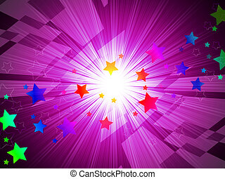 Rainbow Stars Background Means Astronomy And Light Beams