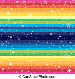rainbow striped backdrop and snow