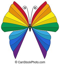 Rainbow striped butterfly isolated
