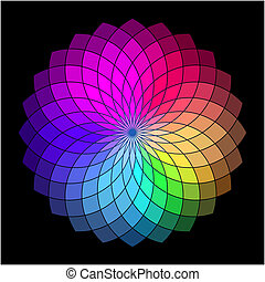 Rainbow style vector wheel. Color Creative Abstract Flower