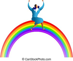 rainbow success - happy asian woman sitting ontop of a...