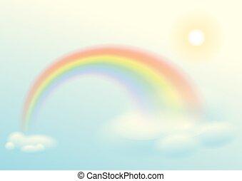 Rainbow, sun and clouds sky. Illustration