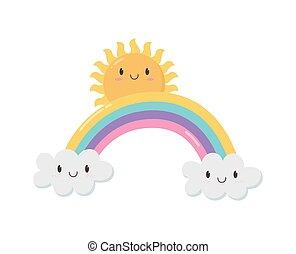rainbow sun clouds fantasy cartoon character