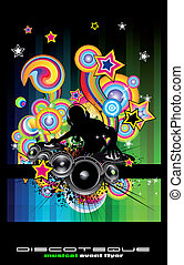 Discoteque Flyer with Abstract DJ silhouette. - Rainbow...