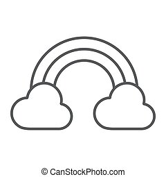 Rainbow thin line icon, st patrick's day and holiday, cloud with rainbow sign, vector graphics, a linear pattern on a white background, eps 10.