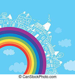 Rainbow town funny background for children
