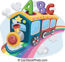 Rainbow Train with ABC - Illustration of a Train on a...