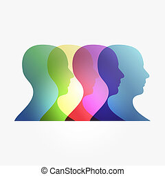 Diversity transparency man heads isolated over white. EPS 10 vector illustration, cleanly built grouped and ordered in layers for easy editing.