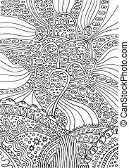 Rainbow tree of life. Surreal fantasy psuchedelic coloring page for adults. Vector illustration