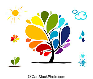 Rainbow tree with weather signs for your design