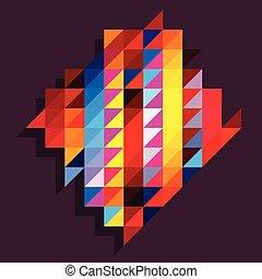 Rainbow triangles background with diamond shape